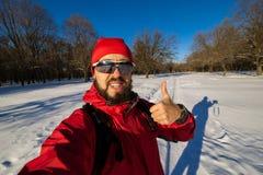 Brodaty mężczyzna opowiada na kamerze, szybki selfie 05 Fotografia Stock