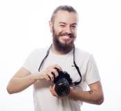 Brodaty mężczyzna z cyfrową kamerą Fotografia Royalty Free
