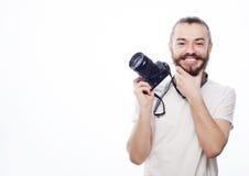 Brodaty mężczyzna z cyfrową kamerą Zdjęcia Royalty Free