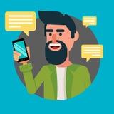 Brodaty mężczyzna Z Smartphone Modnisia facet komunikuje z jego przyjaciółmi przez nowożytnego telefonu ilustracji