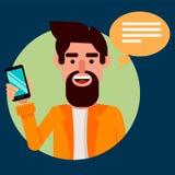 Brodaty mężczyzna Z Smartphone Modnisia facet komunikuje z jego przyjaciółmi przez nowożytnego telefonu ilustracja wektor