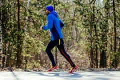 Brodaty męski biegacza bieg w miasto parku Zdjęcie Royalty Free