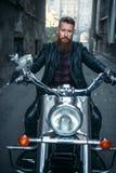 Brodaty rowerzysta na klasycznym siekaczu, frontowy widok zdjęcia royalty free