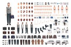Brodaty urzędnika, urzędnika lub kierownika tworzenia set, lub DIY zestaw Plik męskie postaci z kreskówki części ciałe, odziewa royalty ilustracja