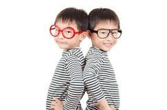 Broder som två ler med monokeln Royaltyfri Fotografi