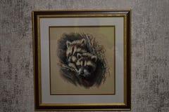 Broderad bild som visar två tvättbjörnar royaltyfri illustrationer