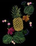Broderad exotisk gul blomma för hibiskus för sidor för ananasfruktmonstera vektor illustrationer