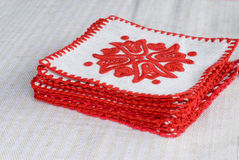 broderad handtablecloth Arkivbild