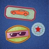 broderad set för sparrar emblems stock illustrationer