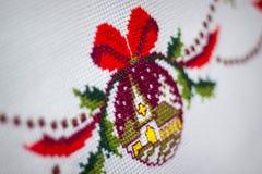 Broderad tablecloth Arkivfoto