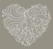 Broderad vit snör åt hjärta med blom- virvlar Royaltyfri Bild