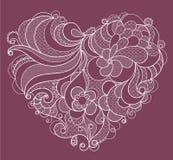 Broderad vit snör åt hjärta med blom- virvlar Arkivbild