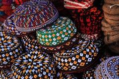 Broderade kalotter Turkmenistan Ashkhabad Arkivfoto