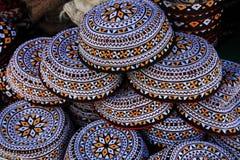 Broderade kalotter Turkmenistan Ashkhabad Arkivbild