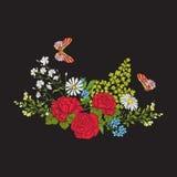 broderi Bukett med rosor och tusenskönor stock illustrationer