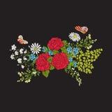 broderi Bukett med rosor och tusenskönor royaltyfri illustrationer