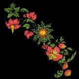 Broderi för kragelinjen Blom- prydnad i tappningstil vektor illustrationer