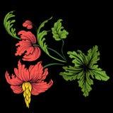 Broderi för kragelinjen Blom- prydnad i tappningstil royaltyfri illustrationer