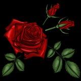 Broderi för röda rosor Royaltyfria Bilder