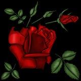 Broderi för röda rosor Arkivfoto