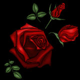 Broderi för röda rosor Fotografering för Bildbyråer