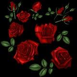 Broderi för röda rosor Arkivbild