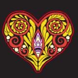 Broderi med mönstrad förälskelsehjärta på svart bakgrund vektor illustrationer