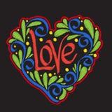 Broderi med mönstrad förälskelsehjärta på svart bakgrund stock illustrationer