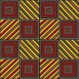Broderi - sömlös prydnad Kulöra geometriska formfyrkanter och linjer på en svart bakgrund handgjort ethnic royaltyfri illustrationer