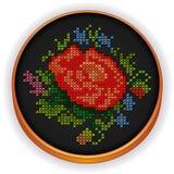 Broderia, rocznika kwiatu bukieta krzyża ścieg, W royalty ilustracja