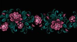 Broderidesign i barock stil seamless kant vektor royaltyfri illustrationer