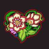 Broderie avec le coeur modelé d'amour sur le fond noir Photos libres de droits