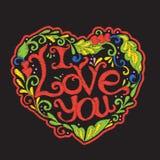 Broderie avec le coeur modelé d'amour sur le fond noir Image libre de droits