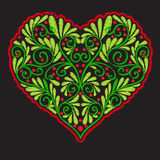 Broderie avec le coeur modelé d'amour sur le fond noir Photographie stock libre de droits