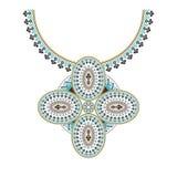 Broderie aztèque de collier de vecteur pour des femmes de mode Modèle tribal de pixel pour la copie ou le web design Bijoux, coll illustration stock