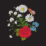 broderie Bouquet avec des roses et des marguerites illustration libre de droits