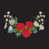 broderie Bouquet avec des roses et des marguerites illustration de vecteur