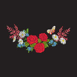 broderie Bouquet avec des roses et des marguerites Images stock