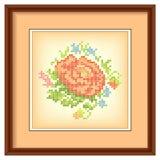 Broderie, bouquet de fleur, cadre de tableau, tapis Photo stock
