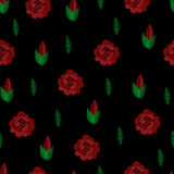 broderie Configuration sans joint Vecteur Répétition du fond Roses rouges sur le noir Images libres de droits