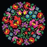 Broderie d'art populaire de Kalocsai - modèle floral rond hongrois rouge sur le noir illustration stock