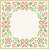 Broderie de point de croix - fleurs et feuilles Photos libres de droits
