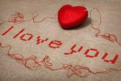 Broderie de Valentine je t'aime Image libre de droits
