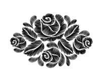 Broderie noire de roses sur le fond blanc la ligne ethnique graphiques de cou de fleurs de conception de fleur façonnent le port Photo stock