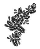 Broderie noire de roses sur le fond blanc la ligne ethnique graphiques de cou de fleurs de conception de fleur façonnent le port Image libre de droits