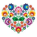 Broderie polonaise de coeur d'art d'art d'olk avec des fleurs - lowickie wzory Images stock