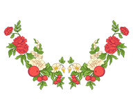 Broderie pour la ligne de collier Ornement floral dans le style de vintage illustration stock