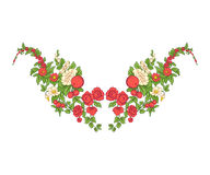Broderie pour la ligne de collier Ornement floral dans le style de vintage Photographie stock