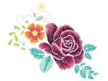 Broderie Rose Ornament Photos libres de droits
