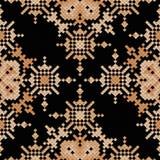 Broderie sans couture de modèle de pixel ethnique, dessin géométrique traditionnel, élément de tissu de culture indienne folklori Images stock